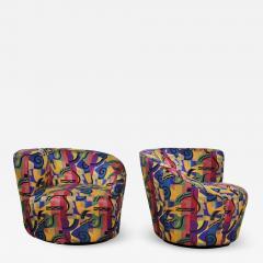 Vladimir Kagan Pair of asymmetric nautilus swivel chairs in style of vladimir kagan - 1610522