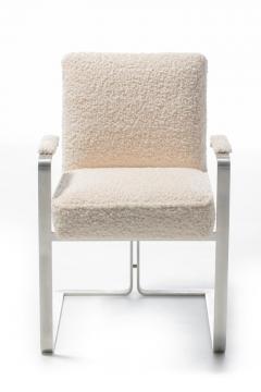 Vladimir Kagan Set of 12 Vladimir Kagan for Kagan Dreyfuss Steel Dining Chairs in Ivory Boucl  - 2088452