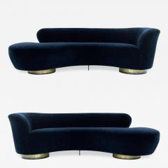 Vladimir Kagan Set of Opposing Serpentine Sofas in Deep Blue Mohair by Vladimir Kagan - 1012512