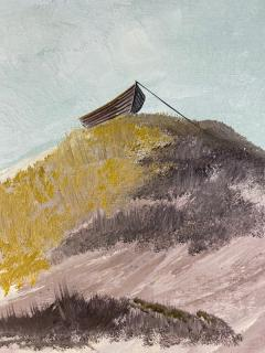 W E Messner BOAT ON SANDY BEACH DUNES OIL PAINTING BY W E MESSNER - 1642246