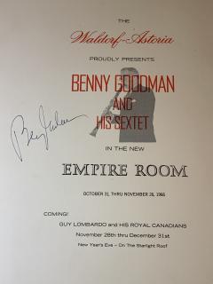 WALDORF ASTORIA MENU AUTOGRAPHED BY BENNY GOODMAN - 1045460