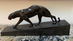Walking Panther Sculpture Patinated Cast Bronze France Mid 20th Century - 1730197