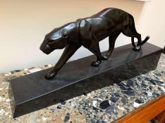 Walking Panther Sculpture Patinated Cast Bronze France Mid 20th Century - 1730203