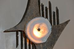 Wall Light In The Style Of Willy Daro Steel And Agate Belgium 1970s - 1874686