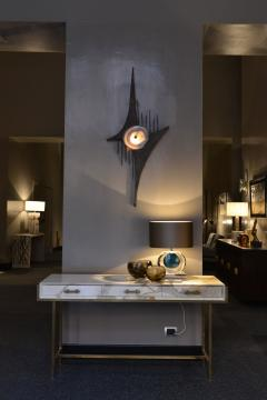 Wall Light In The Style Of Willy Daro Steel And Agate Belgium 1970s - 1874704
