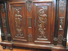 Walnut Cabinet with Original Gilding Paint Ebony Marble and Bronze - 271020