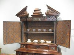 Walnut Cabinet with Original Gilding Paint Ebony Marble and Bronze - 271022
