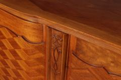 Walnut Parquetry Sideboard by Jules Leleu c1950 - 2106632