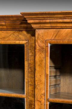 Walnut and oyster veneered breakfront 4 door bookcase - 825298
