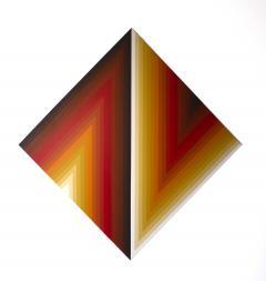 Walt Hines Walt Hines Hard Edge Acrylic Painting on Canvas Space Shaft 1970s - 1765343