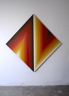 Walt Hines Walt Hines Hard Edge Acrylic Painting on Canvas Space Shaft 1970s - 1765349
