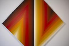 Walt Hines Walt Hines Hard Edge Acrylic Painting on Canvas Space Shaft 1970s - 1765350