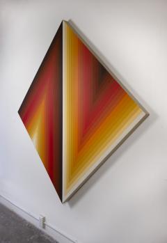 Walt Hines Walt Hines Hard Edge Acrylic Painting on Canvas Space Shaft 1970s - 1765351