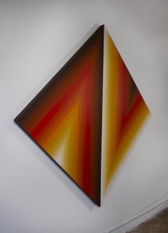 Walt Hines Walt Hines Hard Edge Acrylic Painting on Canvas Space Shaft 1970s - 1765356