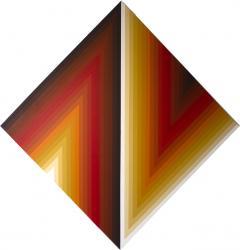 Walt Hines Walt Hines Hard Edge Acrylic Painting on Canvas Space Shaft 1970s - 1765509