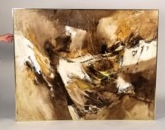 Walter McCown 1960s Abstract Oil and Encaustic Painting on Board by TX Modernist Walter McCown - 1085213