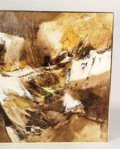 Walter McCown 1960s Abstract Oil and Encaustic Painting on Board by TX Modernist Walter McCown - 1085215