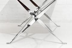 Ward Bennett Chrome and Leather X Base Table 1970 - 1793685