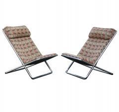 Ward Bennett Pair of Ward Bennett Scissor Pillow Low Profile Highback Chairs - 1755112