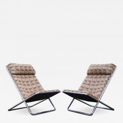 Ward Bennett Pair of Ward Bennett Scissor Pillow Low Profile Highback Chairs - 1765641