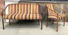 Ward Bennett Rare Ward Bennett Settee and Side Chair in Vintage Fabric - 2072433