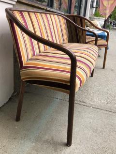 Ward Bennett Rare Ward Bennett Settee and Side Chair in Vintage Fabric - 2072439