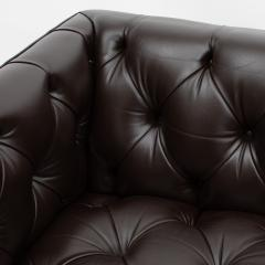 Ward Bennett Ward Bennett Elegant Tufted Leather Sofa 1970s Signed  - 1524835