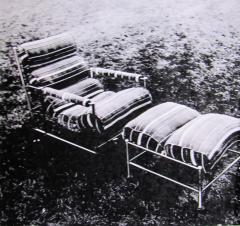 Warren McArthur Warren McArthur Pair of Stainless Steel Lounge Chairs and Ottoman Circa 1935 - 814835