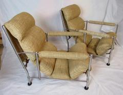 Warren McArthur Warren McArthur Pair of Stainless Steel Lounge Chairs and Ottoman Circa 1935 - 822211