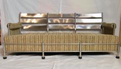 Warren McArthur Warren McArthur Park Avenue Couch Stainless Steel Slat Back1935 36 Rare - 784015