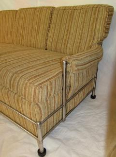 Warren McArthur Warren McArthur Park Avenue Couch Stainless Steel Slat Back1935 36 Rare - 784048