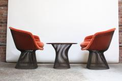 Warren Platner Pair of Warren Platner for Knoll Bronze and Mohair Lounge Chairs with Side Table - 627852