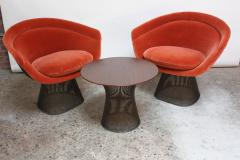Warren Platner Pair of Warren Platner for Knoll Bronze and Mohair Lounge Chairs with Side Table - 627855