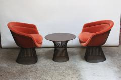 Warren Platner Pair of Warren Platner for Knoll Bronze and Mohair Lounge Chairs with Side Table - 627858