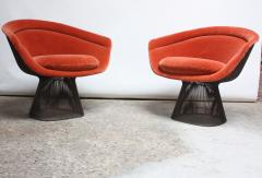 Warren Platner Pair of Warren Platner for Knoll Bronze and Mohair Lounge Chairs with Side Table - 627859