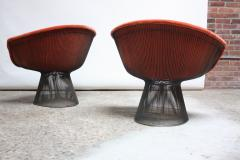 Warren Platner Pair of Warren Platner for Knoll Bronze and Mohair Lounge Chairs with Side Table - 627864