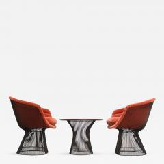 Warren Platner Pair of Warren Platner for Knoll Bronze and Mohair Lounge Chairs with Side Table - 668602