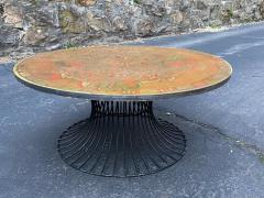 Warren Platner SIGNED MID CENTURY DECORATED METAL TOP WARREN PLATNER STYLE COFFEE TABLE - 1920929