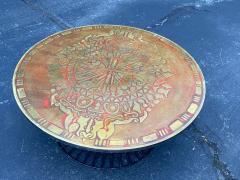 Warren Platner SIGNED MID CENTURY DECORATED METAL TOP WARREN PLATNER STYLE COFFEE TABLE - 1920930