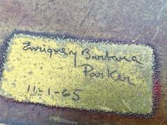 Warren Platner SIGNED MID CENTURY DECORATED METAL TOP WARREN PLATNER STYLE COFFEE TABLE - 1920931