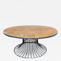 Warren Platner SIGNED MID CENTURY DECORATED METAL TOP WARREN PLATNER STYLE COFFEE TABLE - 1926938