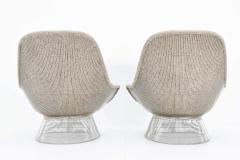 Warren Platner Warren Platner for Knoll Lounge Chairs in Beige Tan Wool Tweed 1980s - 1381387