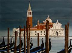 Watercolor on Paper Chiesa di San Maggiore Venice signed Michael Dunlavey - 1301735