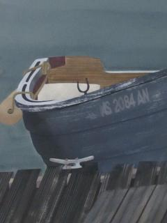 Watercolor on Paper Rendezvous Bodega Bay California by Michael Dunlavey - 1282311