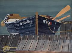 Watercolor on Paper Rendezvous Bodega Bay California by Michael Dunlavey - 1282324