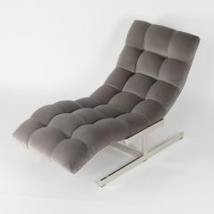 Wave Chaise Lounge in Gray Velvet - 443102
