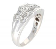 Wavy Row Platinum 1 Carat Baguette Diamond Bridal Ring - 1795373