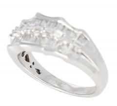 Wavy Row Platinum 1 Carat Baguette Diamond Bridal Ring - 1795374