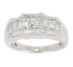 Wavy Row Platinum 1 Carat Baguette Diamond Bridal Ring - 1795375