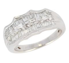 Wavy Row Platinum 1 Carat Baguette Diamond Bridal Ring - 1795376